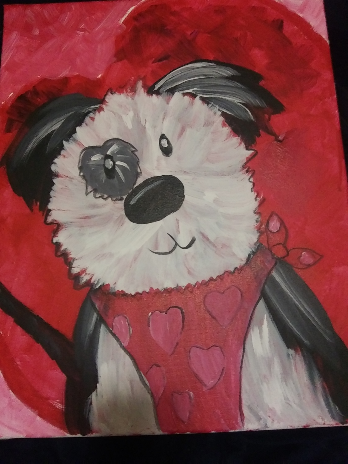 I Went to an Art Class and Learned to Paint a Valentine's Puppy